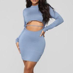 BLUE FASHION NOVA MINI UNDERBOOB DRESS